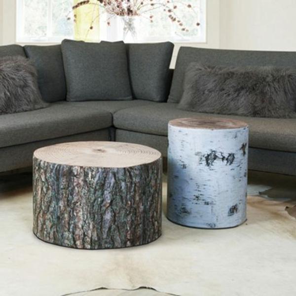 naturholzmöbel beistelltische baumstumpf