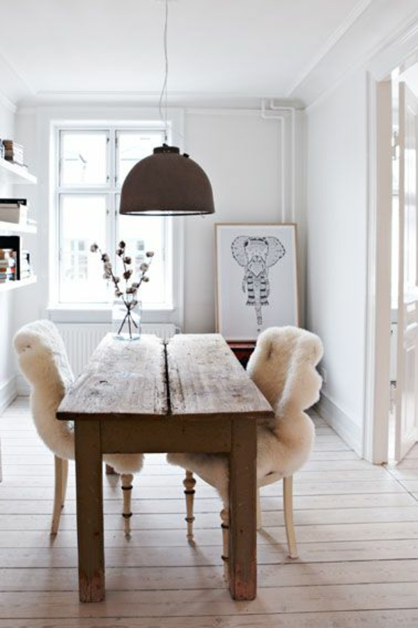 echtholzmöbel esszimmer skandinavisch einrichten rustikaler esstisch