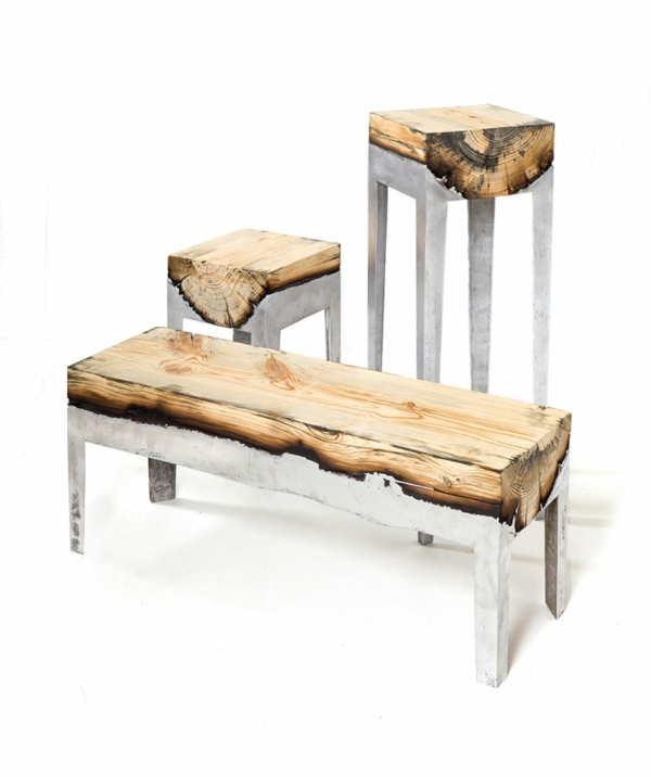 naturholzmöbel naturholz metall