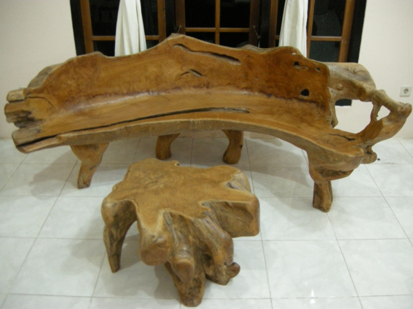 naturholzmöbel sitzbank couchtisch