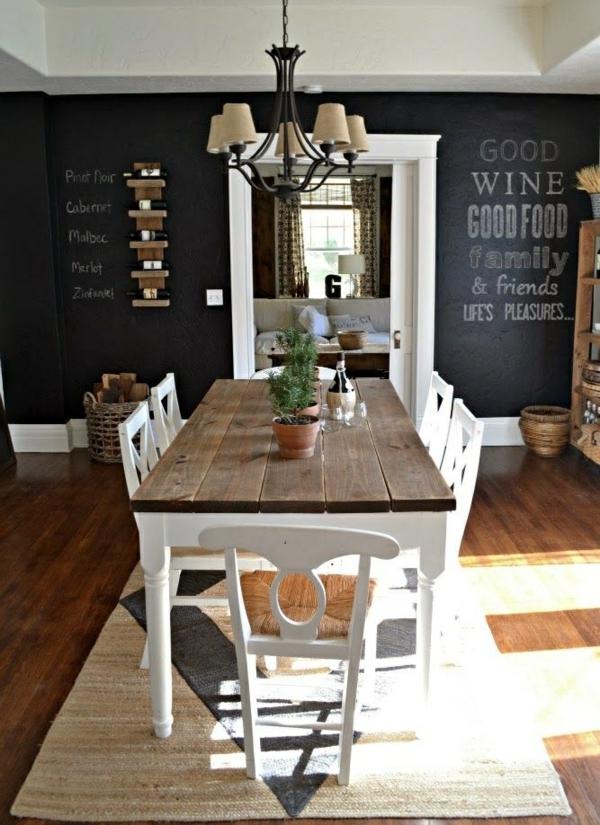 esszimmer landhausstil esstisch rustukal massivholzmöbel rattanteppich