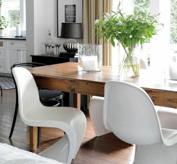 esszimmer mit stühlen panton chair weiß designer stühle