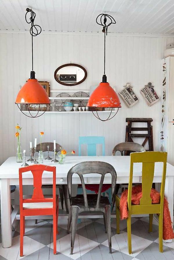 esszimmerleuchten gemischte stühle orange lampen