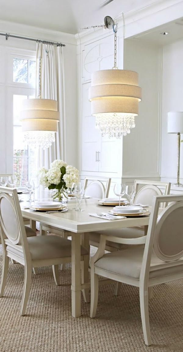 esszimmer lampen luxus weiß pendelleuchten esszimmer gestalten