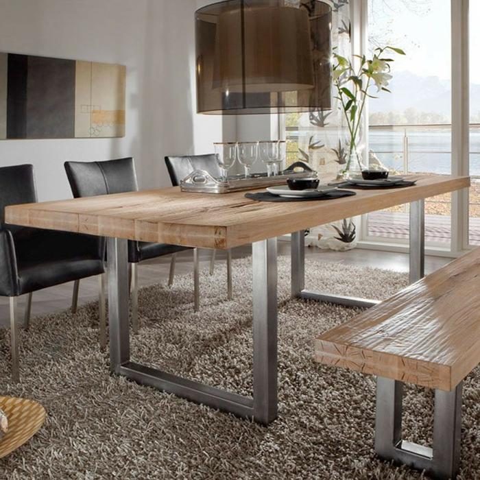 Der Passende Esstisch Zu Ihren Neuen Freischwinger Esszimmerstühlen U003eu003e  Esstisch Massivholz Metall