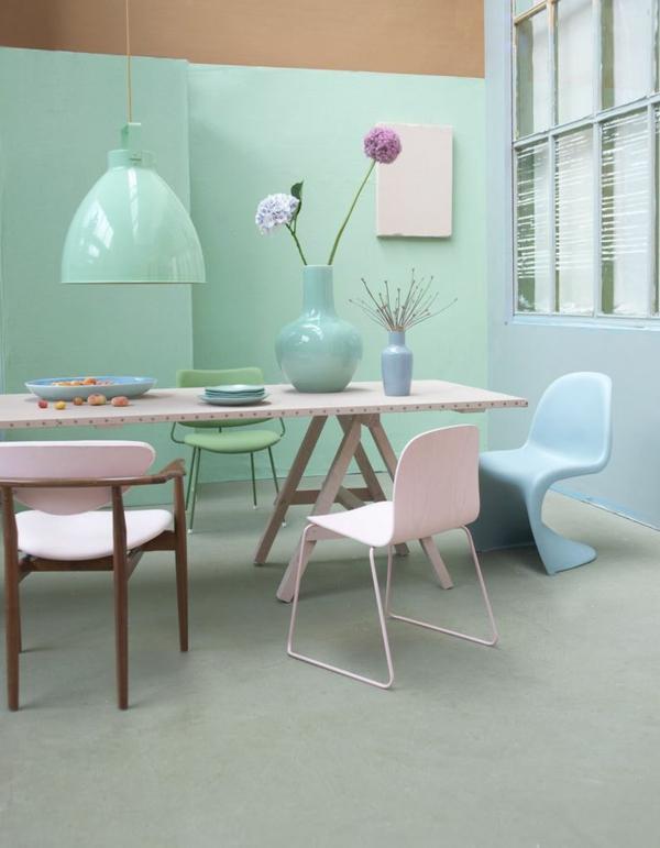 esszimmertisch mit stühlen designer stühle panton stuhl hellblau
