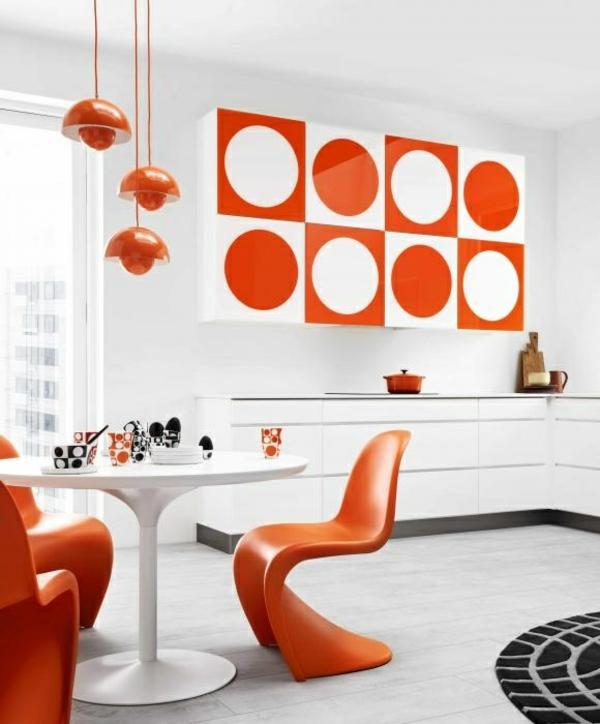 esszimmertisch mit stühlen designer stühle panton stuhl orange