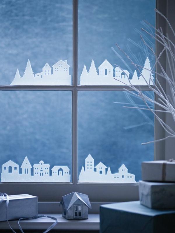 fensterdeko weihnachten bastelideen für weihnachten fenstersticker häuser