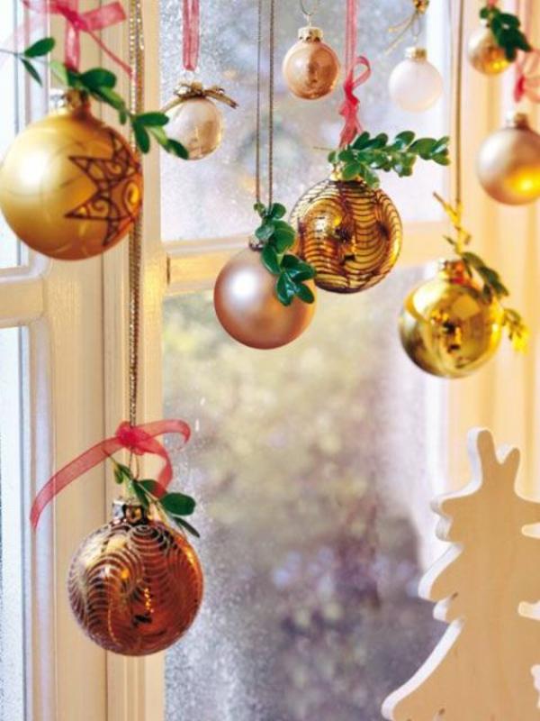 fensterdeko weihnachten baumkugel fensterdeko