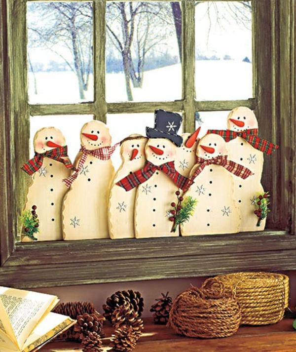fensterdeko weihnachten lustige schneemänner
