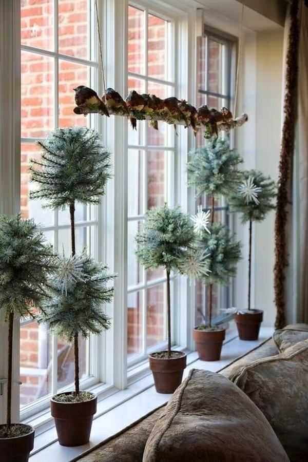 fensterdeko weihnachten topfpflanzen weihnachts fensterdeko