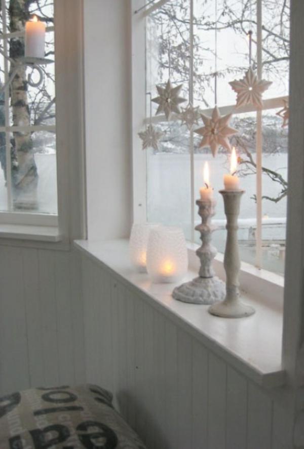 fensterdeko weihnachten weiße kerzenständer weihnachts fensterdeko