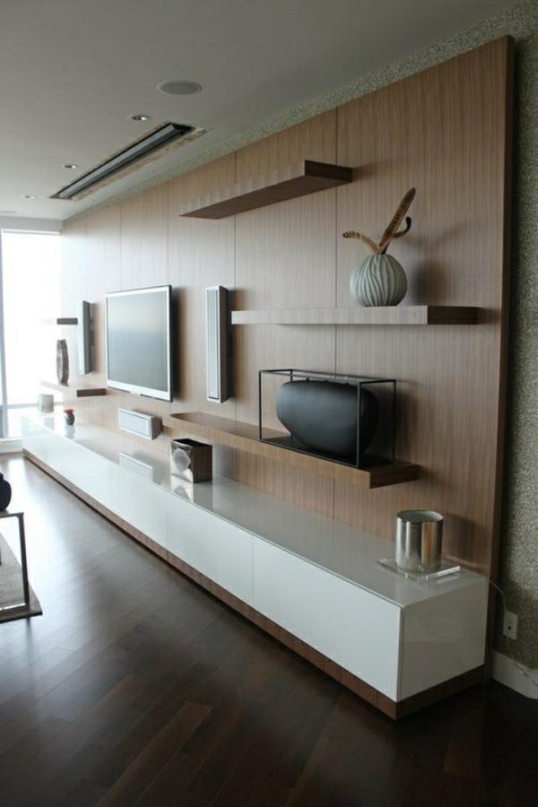 fernsehschränke wohnzimmer holz wandgestaltung