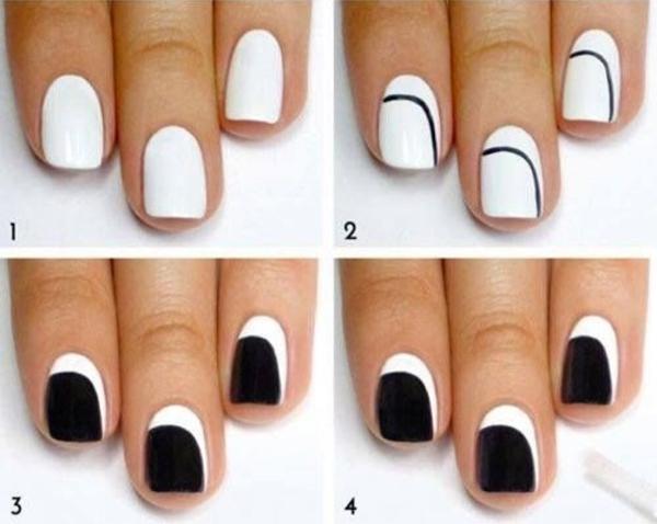fingernägel bilder schwarz weißes schlichtes nageldesign