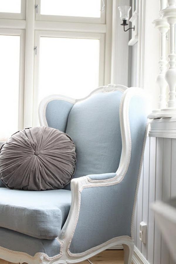 GroB Französische Polstermöbel Sessel Blau