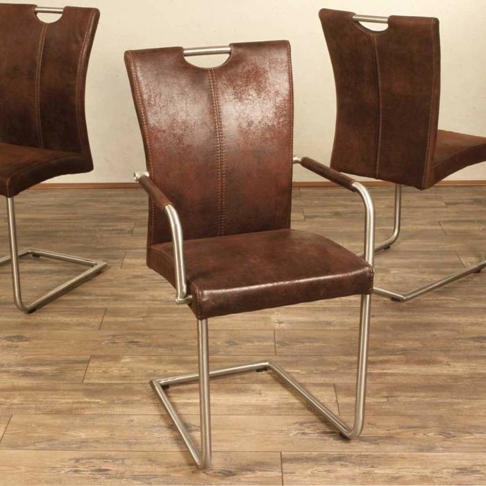 freischwinger stühle freischwinger Armlehnstuhl Liz in Braun