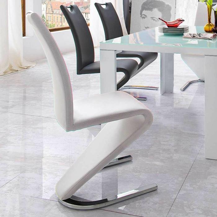 freischwinger stuhl weiß Designerstuhl Calingro in Weiß