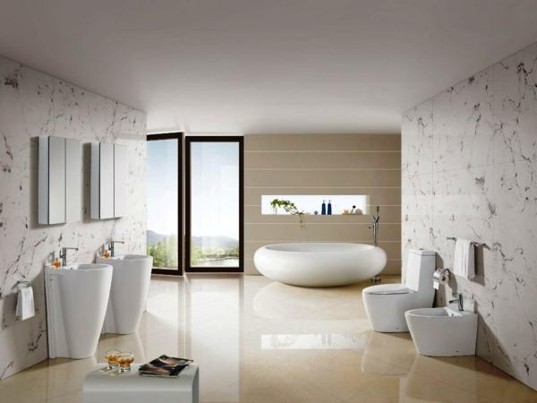 frei stehende badewanne oval weiß