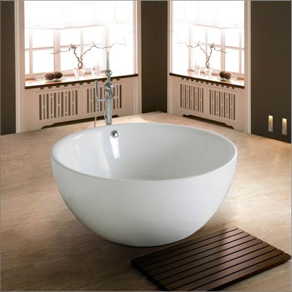 freistehende badewanne schüsselförmig weiß