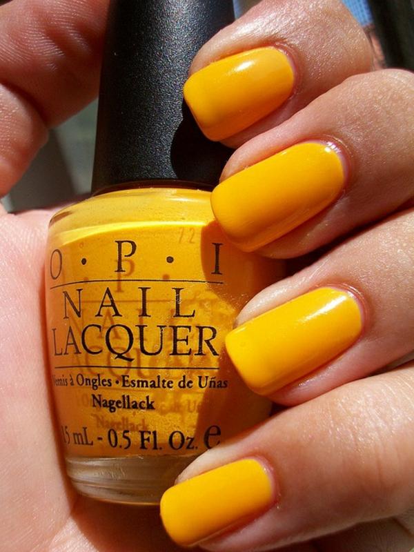 french nagel design galerie nail art einfarbig gelb