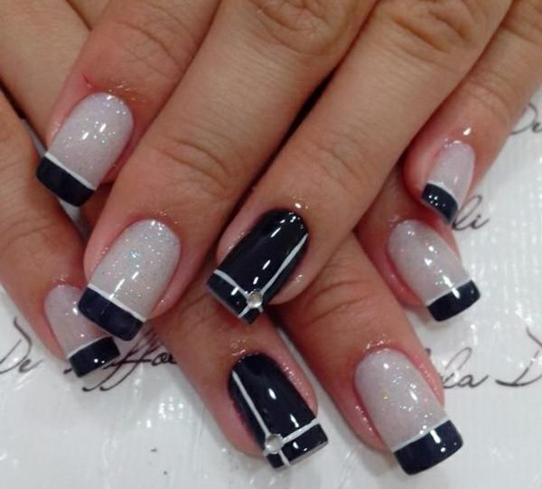 french nageldesign bildergalerie nail art schwarz weiß nagellack