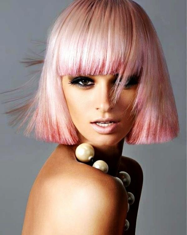 frisuren mittellang rundes gesicht rosa