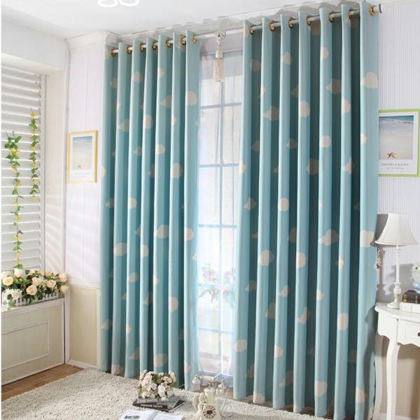 gardinen kinderzimmer blau farbe vorhang