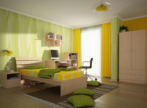 gardinen für kinderzimmer grün gelb