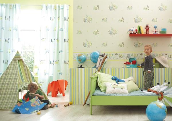 gardinen für kinderzimmer grün wandgestaltung