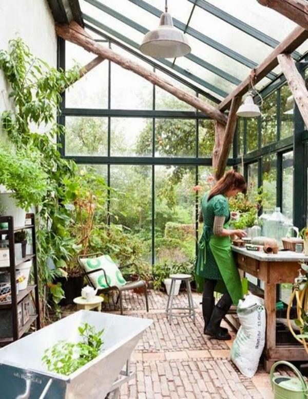 gartengestaltung arbeiten im wintergarten