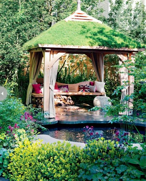 Gartenpavillon Holz Rechteckig ~ gartenpavillon holz gardinen grasdach