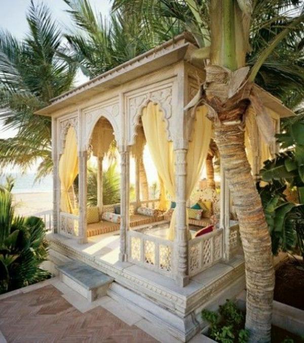 gartenpavillon weiß holz marmor orientalisch