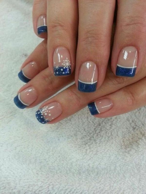 gelnagel muster french nails dunkelblau weiße schneekristalle