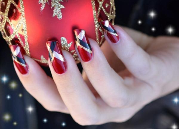 gel nagel muster rot gold schwarz