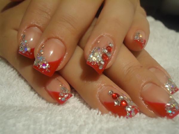 gel nagel muster rot silber