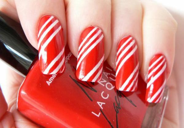 gel nagel muster rot weiß streifen