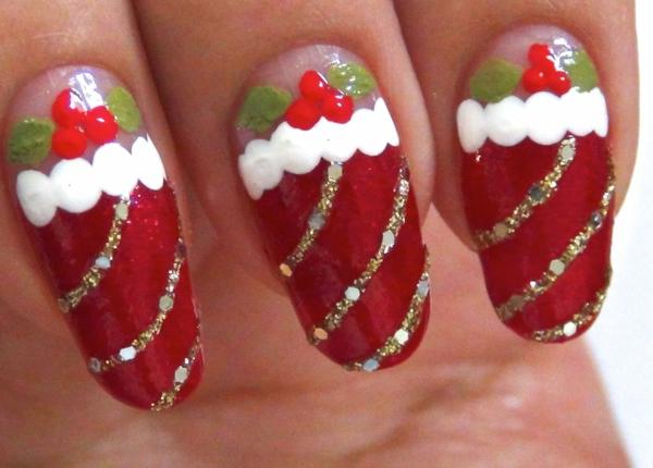 gelnagel muster rot weihnachtsdeko