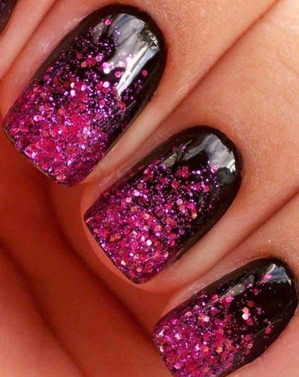 gelnagel muster schwarz pink glitzer