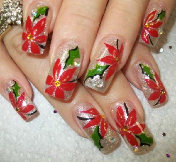 gelnagel muster weihnachtssterne