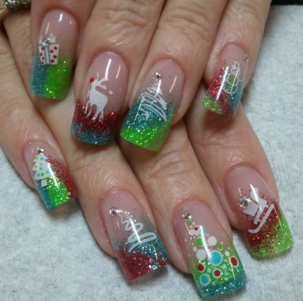 gel nagel muster weihnachtssymbole