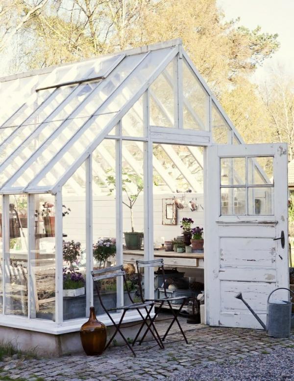 gemüse wintergarten gestalten gartenhaus aus holz und glas
