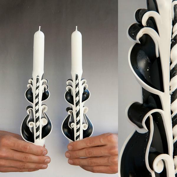 geschnitzte kerzen selber machen schwarz weiß