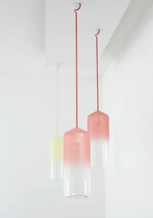 höhenverstellbare pendelleuchte rosa gelb schlichtes design studio wm
