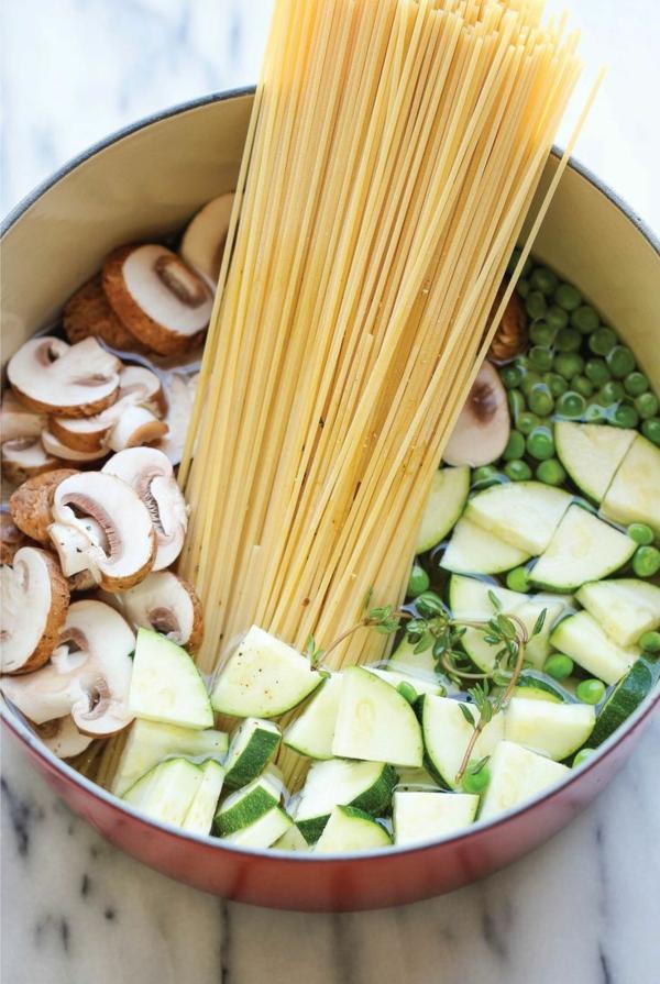 heilfasten abnehmen spaghetti pilze erbsen