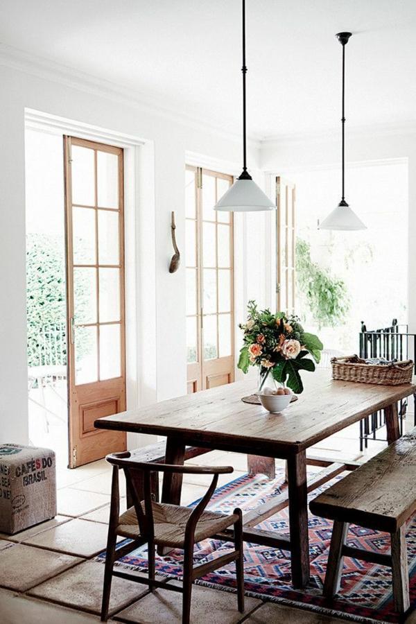 holzmöbel esszimmer landhausstil esstisch rustikal echtholz
