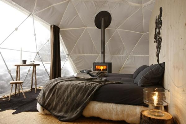 ökohotel iglu alpen schlafzimmer kamin