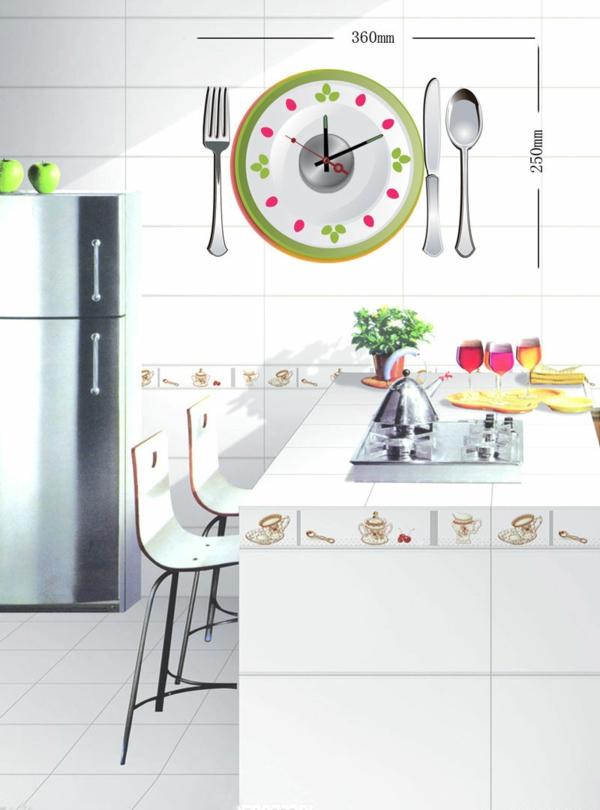 küchen wanduhren mittagspause teller besteck