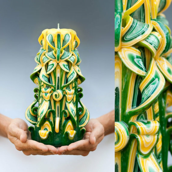 kerzen selber machen geschnitzte kerzen grün gelb