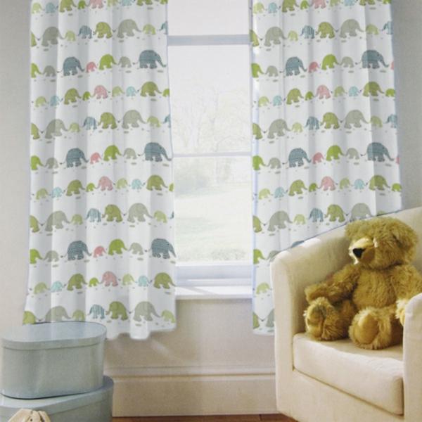 kinderzimmer vorhänge moderne gardinen elefanten