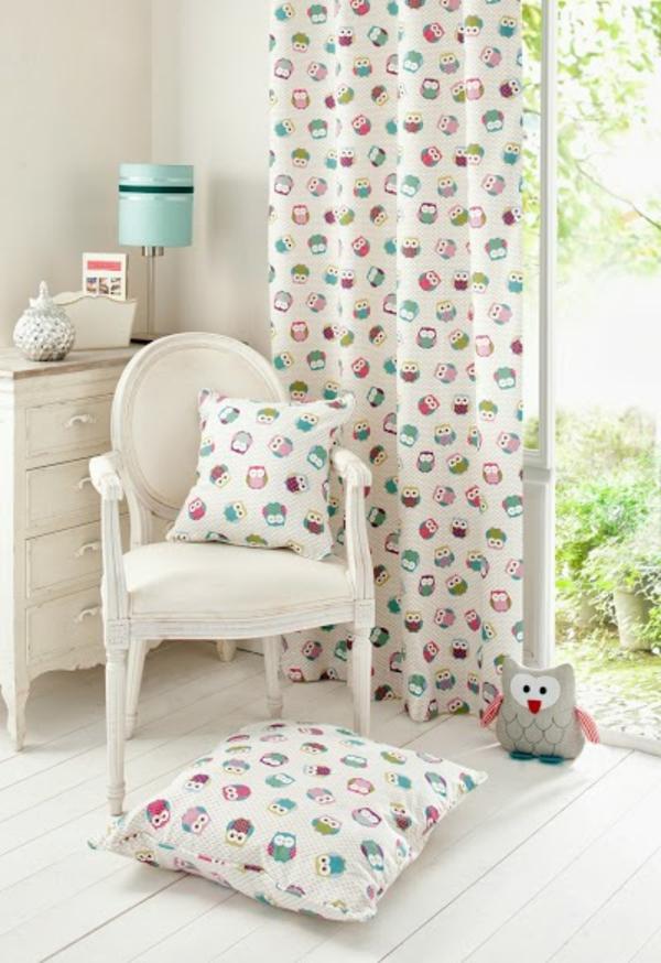 kinderzimmer vorhänge moderne gardinen freundliche eulen